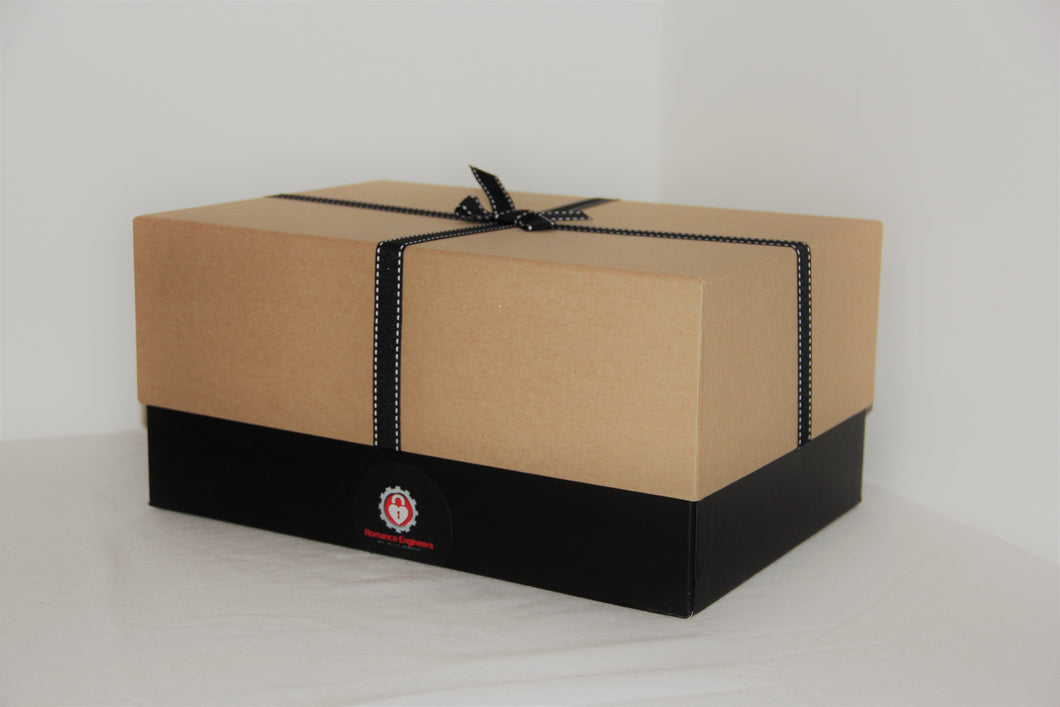 Customised Romance Box to celebrate any occasion by the Romance Engineers Irelands premium proposal planning service. Gift box that is customised with items that meet your loved ones taste. www.romanceengineers.ie
