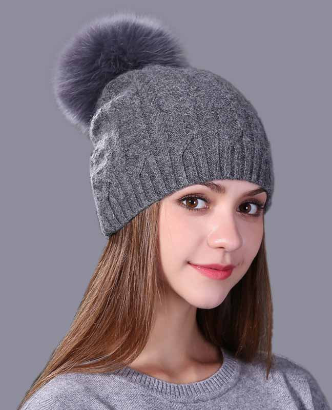 Real fox fur winter hat – Gray Ststches  2d515fa4264