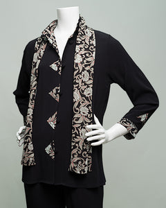 Style 910 A- Line Black Floral Jacket and Scarf