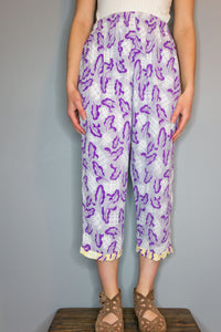 Crop Pants - Purple Leaf
