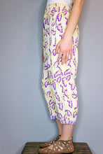Crop Pants - Yellow, Purple Leaf