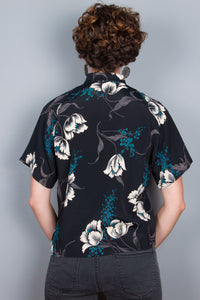 """Lucy"" Top - Black, Ivory Flowers"