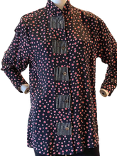 Style 5105 Tunic in Black/ Coral/ White Circles
