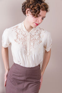 Vintage Ivory Blouse with Embroidered Lace Neckline