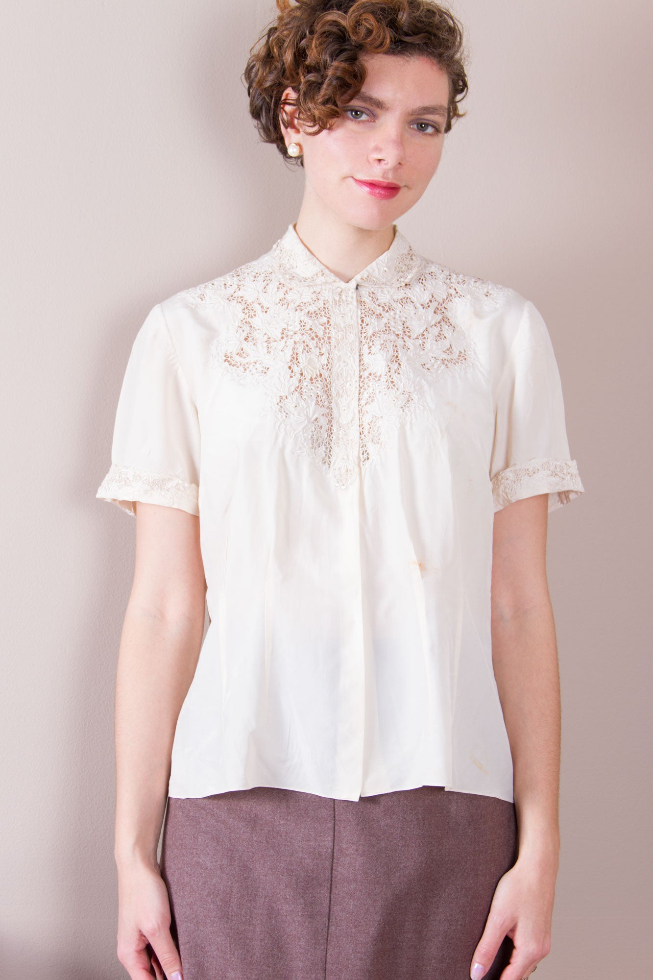 Vintage Ivory Blouse with Embroidered Lace Neckline ...