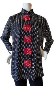 """5105"" Tunic in Black/ White Dots with Red"