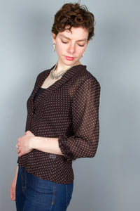 3/4 Sleeve Rayon Ruffle Top - Brown, White Dots