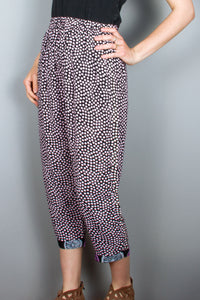 Crop Pants - Black, Lilac Dots