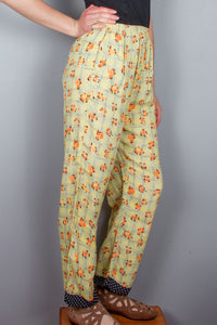 Wide Leg Pants - Yellow, Orange