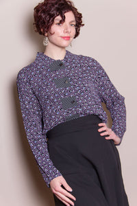 Crop Top - Black, Lilac Floral