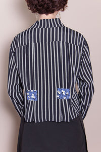Crop Top - Black & White Stripe, Blueberry