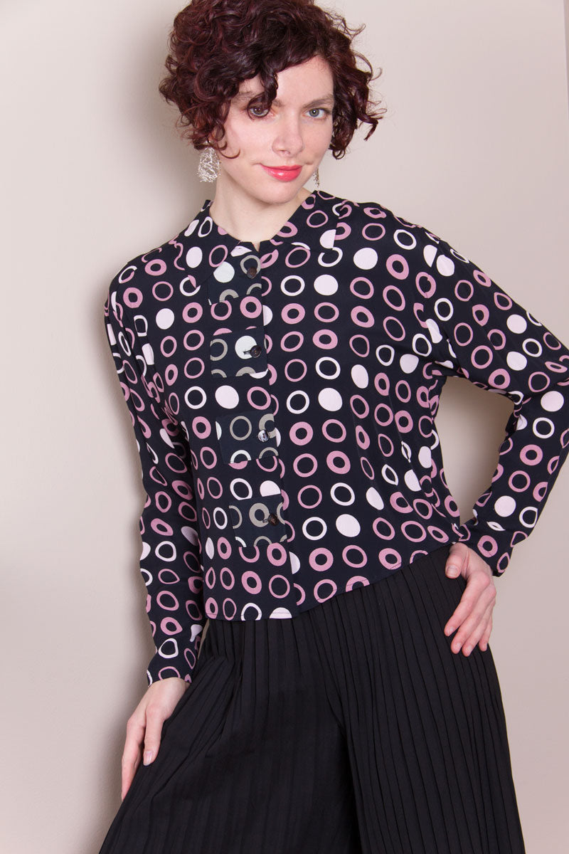 Crop Top - Mauve Circles