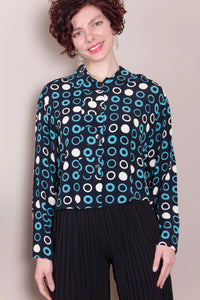 Crop Top - Turquoise Circles
