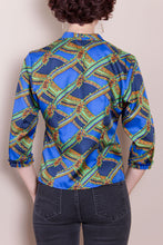 Vintage Silk Top - Blue, 3/4 Sleeve