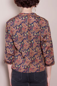 Vintage Silk Top - Paisley, 3/4 Sleeve
