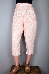 Crop Pants - Orange, White Dots