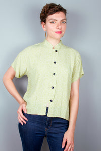 Short Sleeve Mandarin Collar Top - Light Green