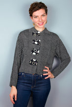 Crop Top - Black & White Stripe, Gray Circles