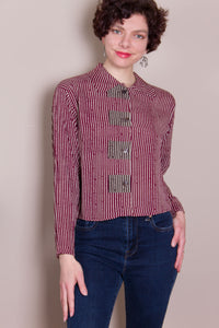 Crop Top - Burgundy Stripe