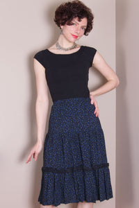 Flirty Skirt - Hand Dyed Black, Blue Dots