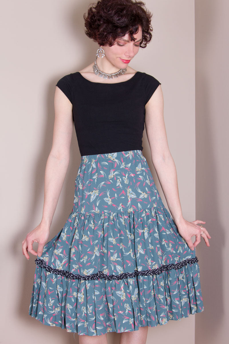 Flirty Skirt - Teal Leaf