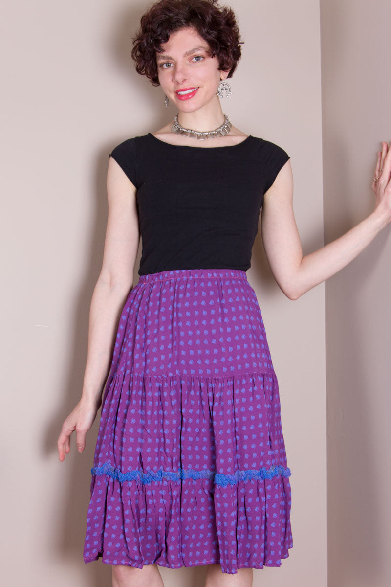 Flirty Skirt - Hand Dyed Purple, Blue Hearts