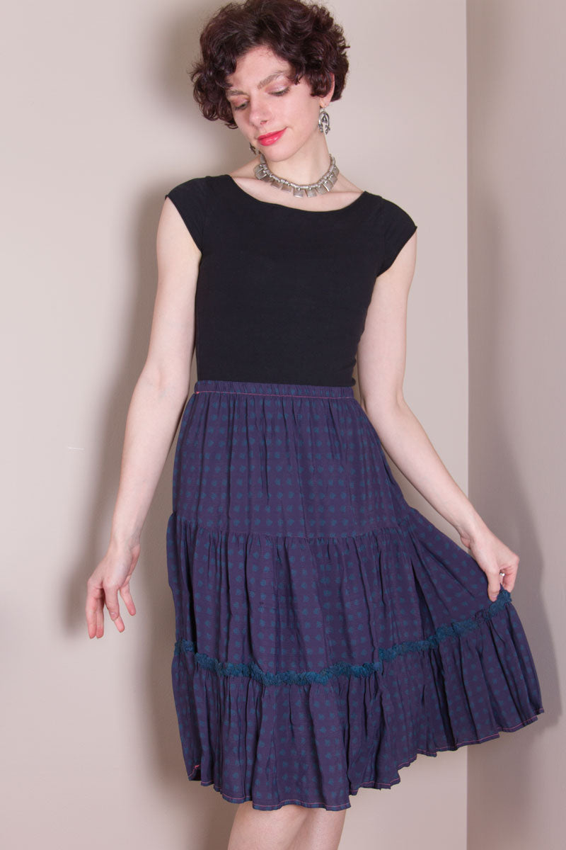 Flirty Skirt - Hand Dyed Burgundy, Blue Hearts