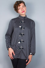 Grey Heather Swing Jacket - Contrast Cuffs