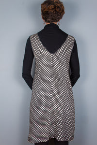 V-Neck Dress - Black & White Dots