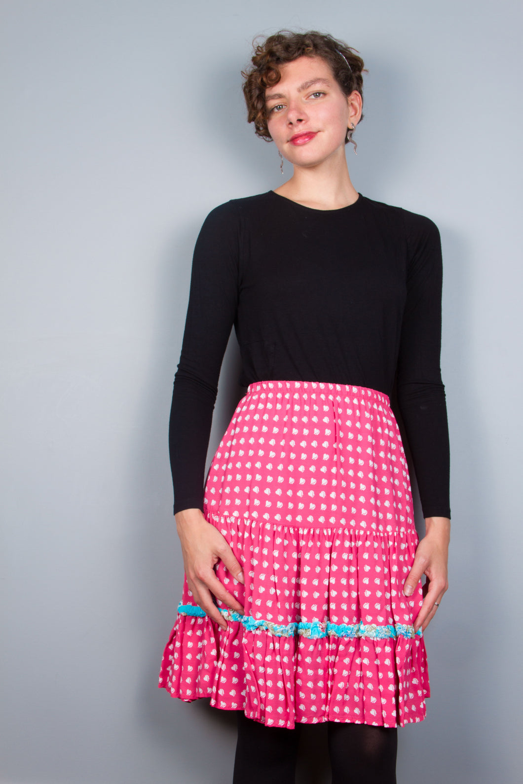 Pink Heart Flirty Skirt with Ruffle