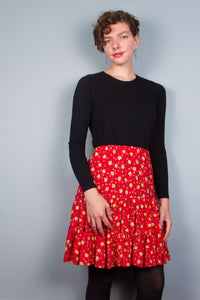 Red Flirty Skirt - Leaves & Swirls