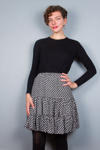 Flirty Skirt - Black & White Dots
