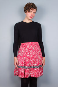 Red & White Dot Flirty Skirt with Ruffle