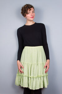 Lime Flirty Skirt with Ruffle