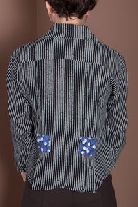 3/4 Sleeve Crop Top - Black & White Stripes, Blueberry
