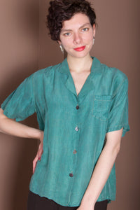 Over-Dyed Short Sleeve Silk Top