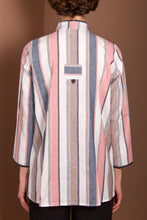 Linen Jacket Top - Peach Stripes