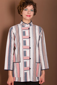 Style 911- Linen Jacket Top - Peach Stripes