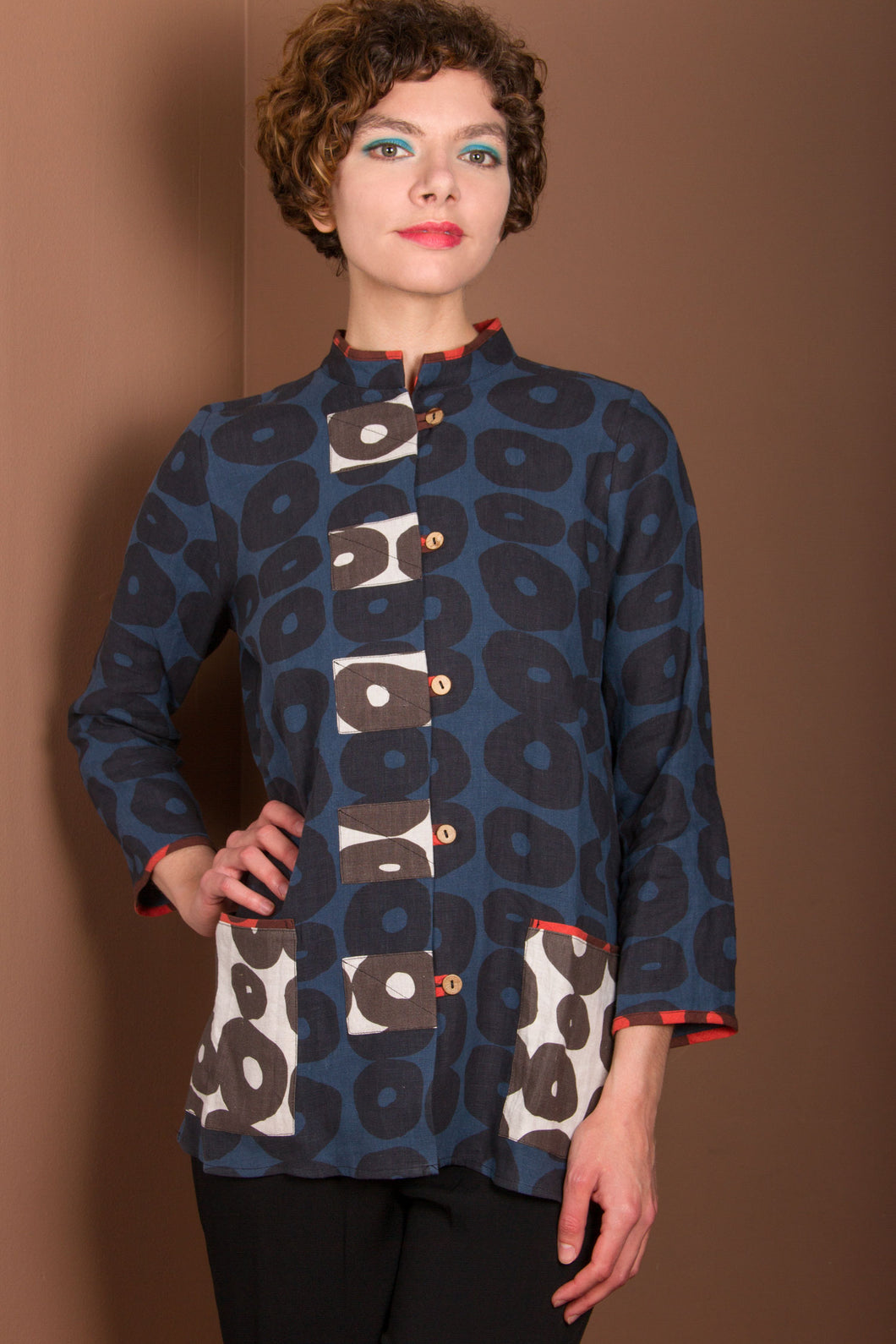 Cotton Jacket Top - Black, Blue Circles