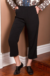 Crop Pants - Black Rayon