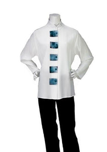 """5105"" Tunic White with TQ Trim"