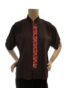 """Lucy"" Top in Black/ White Dots with Red Trim"