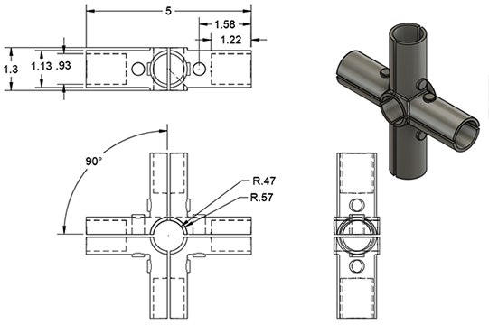 5 Way Connector Dimensions