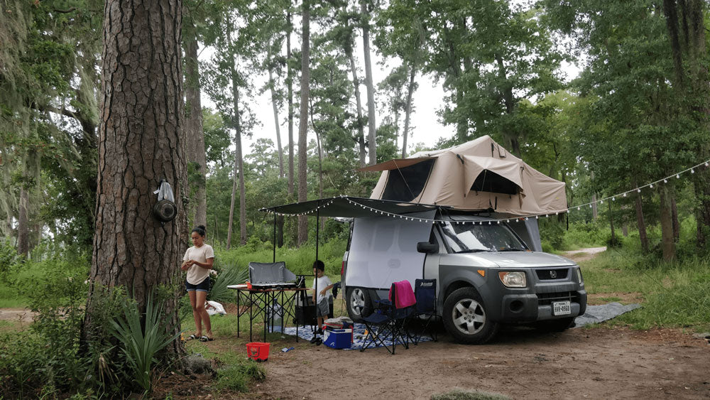 Honda Element With A DIY Awning And Roof Tent