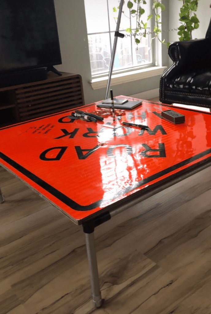 DIY Road Sign Coffee Table