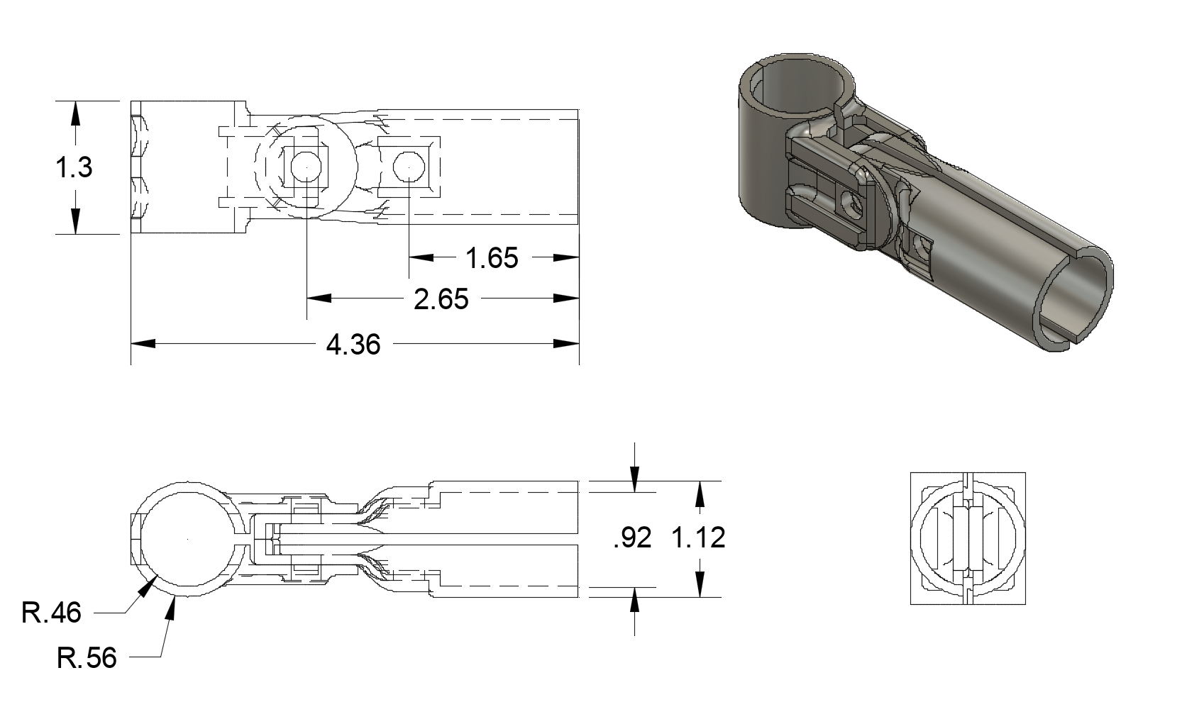 Adjustable Angle Connector Dimensions