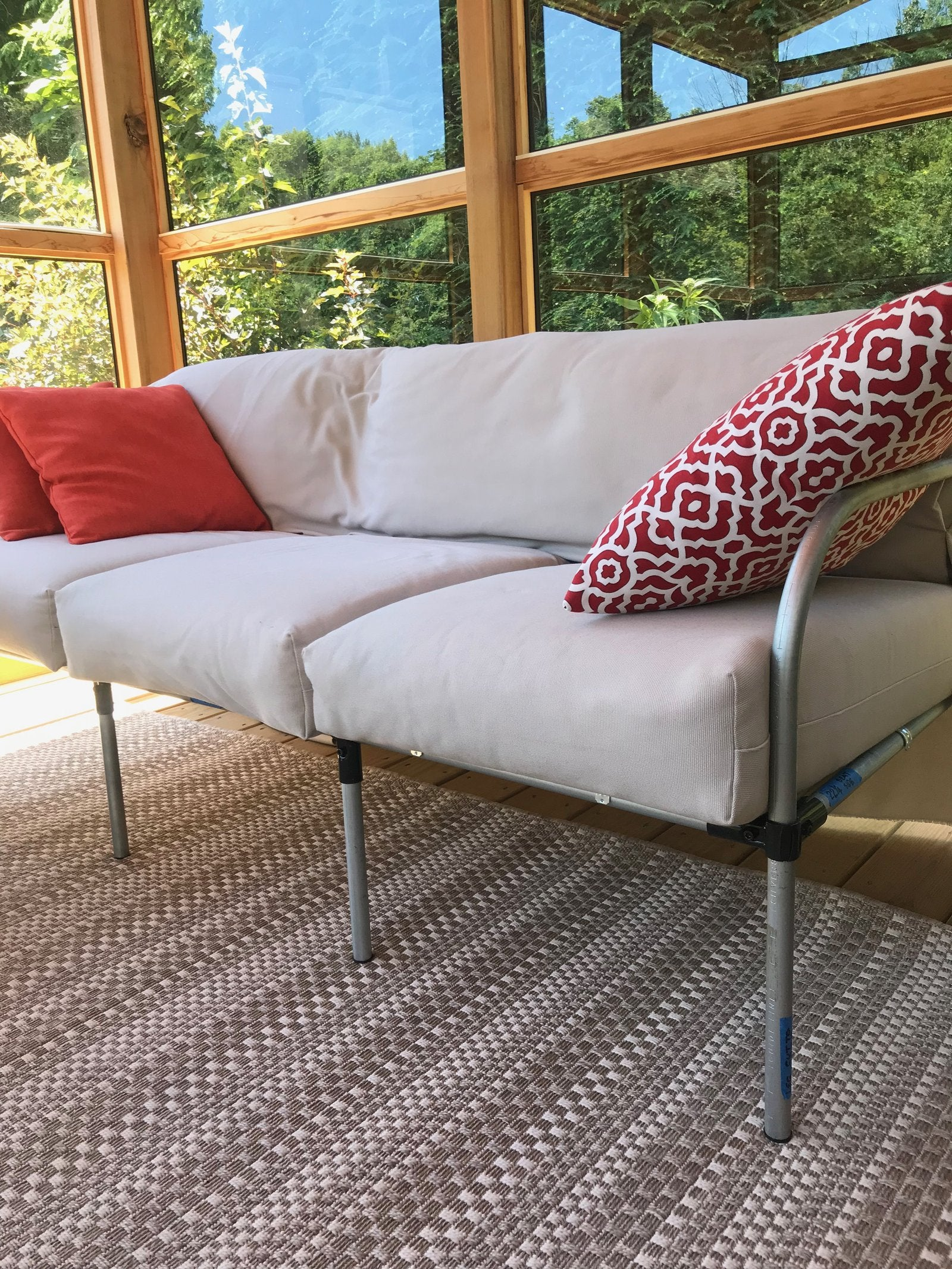 Outdoor Patio Couch Made Out Of Metal Pipe