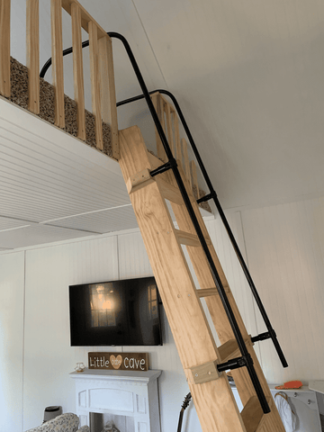 DIY wooden frame with a pipe ladder