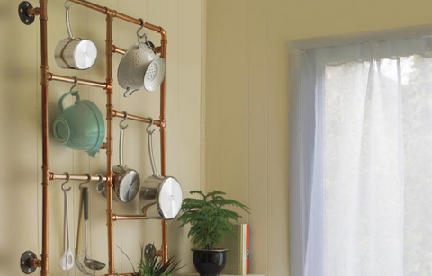 diy pots and pans pipe rack maker pipe