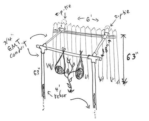 DIY pipe trellis sketch